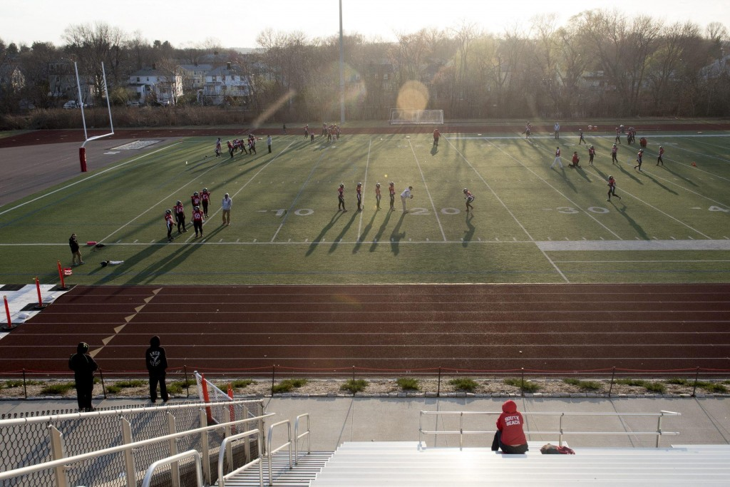 The Boston Renegades run warmup drills while waiting for the Central Maryland Seahawks to show up for their first game of the season at Dilboy Stadium, April 19, 2015. (Wicked Local Staff Photo/ Sam Goresh)